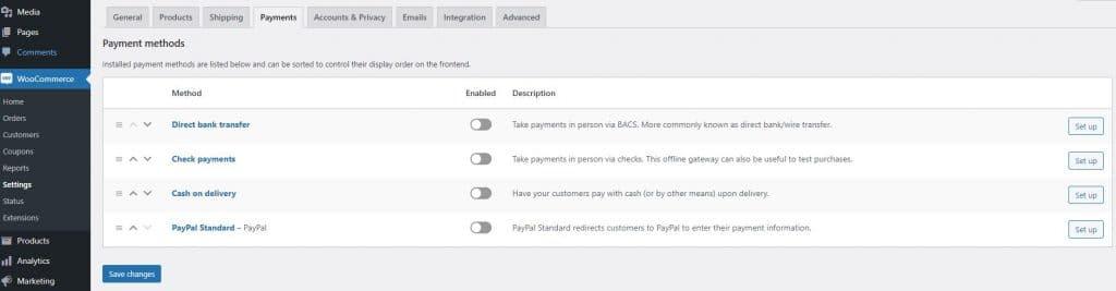 Payments Setup on WooCommerce